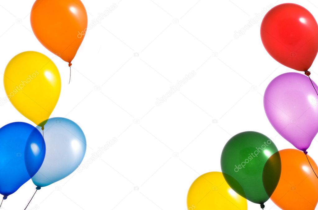 Rainbow balloons on white background — Stock Photo #2149856