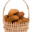 Fresh buns in a basket — Stock Photo