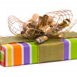 Stock Photo: Gift box with golden bow