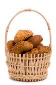 Fresh buns in a basket — Stock Photo