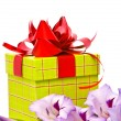 Stock Photo: Beautiful Gladiolus and gift box