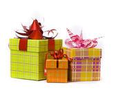 Tre regalo scatola studio shot — Foto Stock