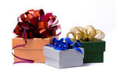 Three gift box studio shot — Stock Photo