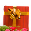 Stock Photo: Red tulips and gift box