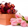 Pink tulips and gift box — Foto de Stock   #2419065