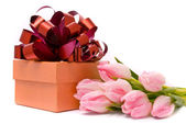 Pink tulips and gift box — Stock Photo