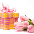 Pink tulips and gift box — Stock Photo #2430823