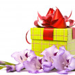 Beautiful gladiolus and gift box. — Stock Photo