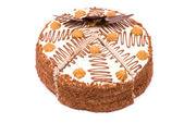 Chocolade taart op een witte achtergrond — Stockfoto
