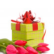 Red tulips and gift box — Stock Photo #2457252