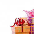 Macro shot of gifts on white background — Stock Photo