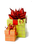 Gifts on white background — Stock Photo