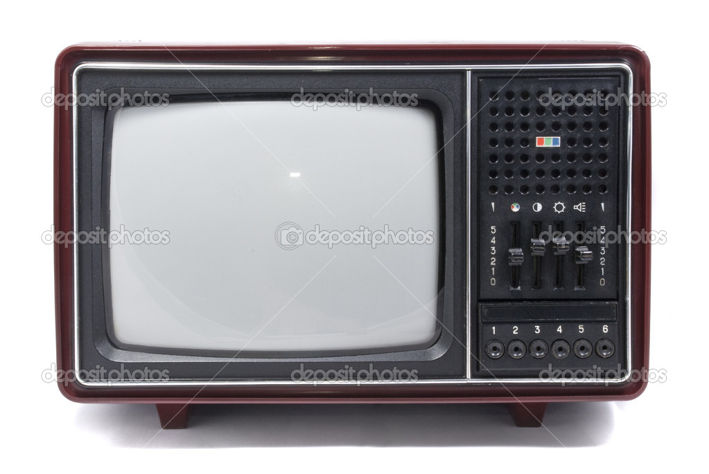 Old vintage tv over a white background stock image