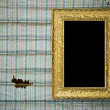 Old grunge wall with vintage gold frame — Stock Photo #2481026