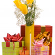 Stock Photo: Bouquet from yellow tulips and gift box