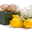 Yellow tulips and gift box — Stock Photo