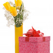 Bouquet from yellow tulips and gift box — Stock Photo