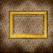 Golden frame over old grunge wallpaper — Stock Photo #2677030