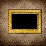 Golden frame over old grunge wallpaper — Stock Photo