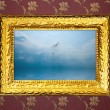 Vintage frame with sea view picture. — Stock Photo