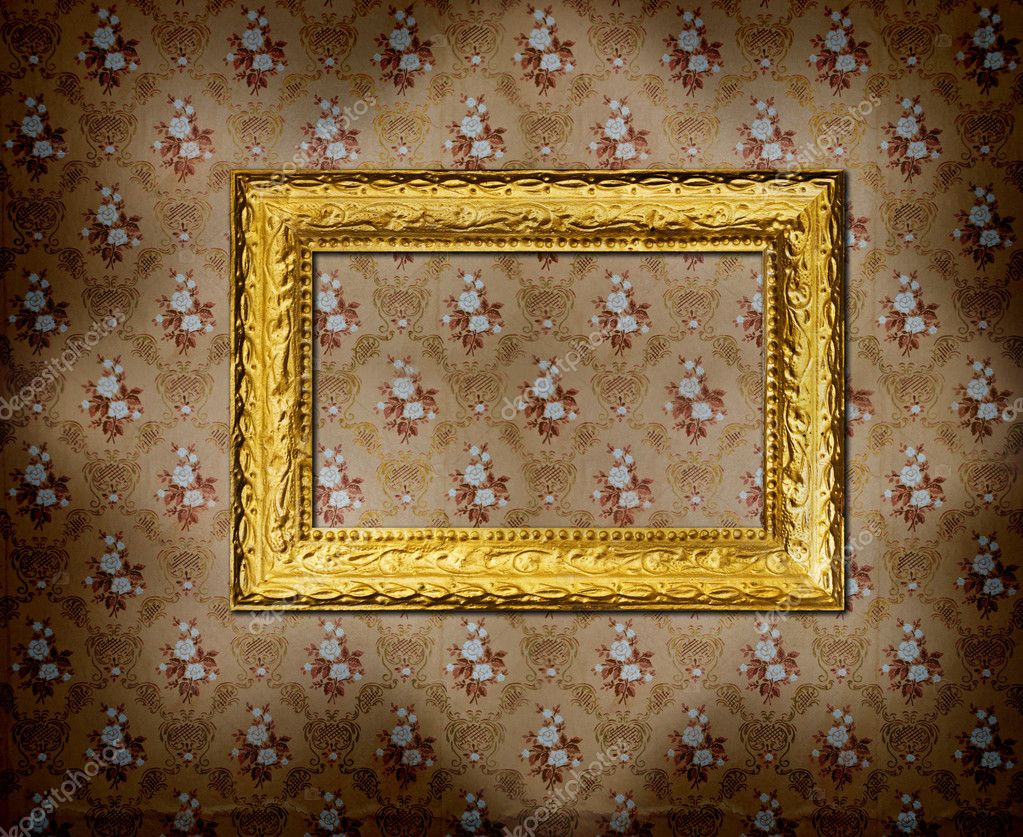 Golden Frame Wallpaper Golden Frame Over Old Grunge