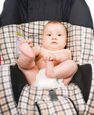 Baby in the car seat — Stockfoto