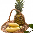 Still-life with basket with fruits — Stock Photo