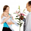 Stock Photo: Women with baby accepts compliment