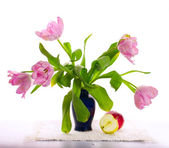 Joyful still-life with curly tulips — Stock Photo