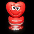 Red Heart on black background — Stock Photo