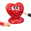 Red heart the isolated background — Stock Photo