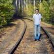 Young mcosts on rails — Stock Photo #1534639