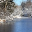 First snow along the river — Stock Photo