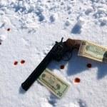 Gun in snow — Stock Photo