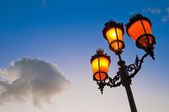 One of the many streetlamps located at es Born Square, Ciutadella, Minorca Island. — Stock Photo