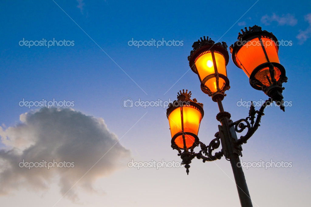 One of the many streetlamps located at es Born Square, Ciutadella, Minorca Island.   #1423258