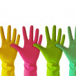 Colorful rubber gloves - Stock Photo