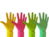Colorful rubber gloves — Stock Photo