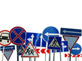 Set of caution signs — Stock Photo