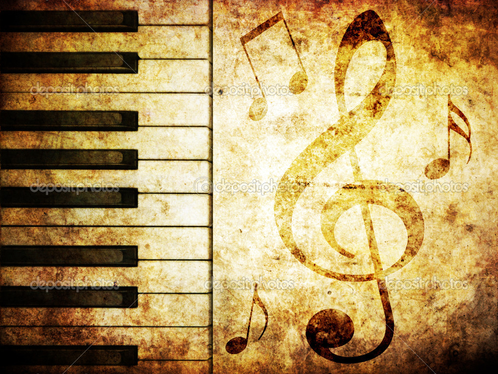 musical background with piano keys and musical notes — Stock Photo #1518261