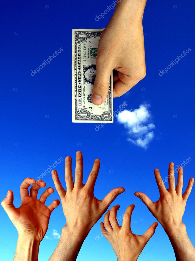 raised hands trying to reach one dollar         — Stock Photo #1518348