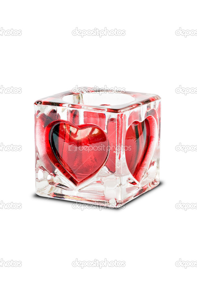 Candlestick with red hearts,isolated on white background — Stock Photo #1685070
