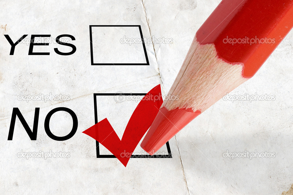 Concept for voting. check-box no with red tick  Stock Photo #2421531