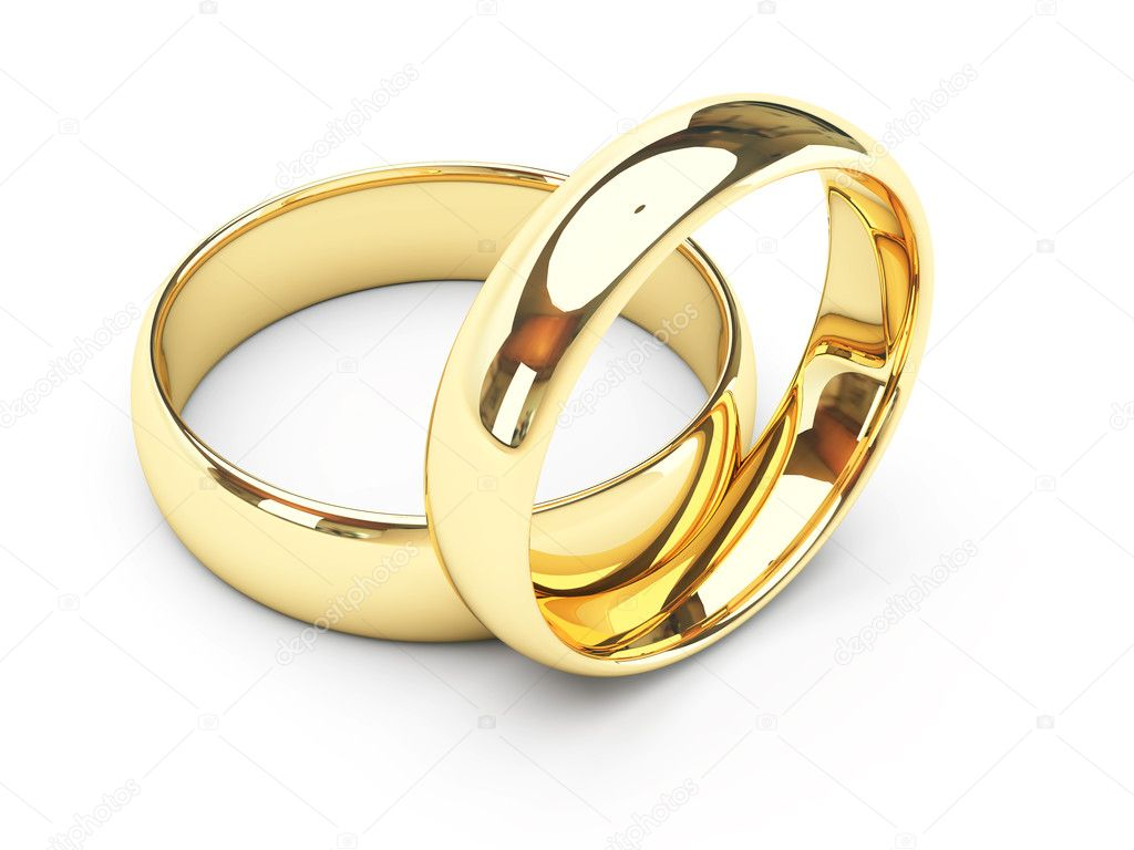 3d isolated gold wedding rings — Foto de Stock   #1372751