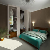 3d modern design comfort bedroom — Stock Photo