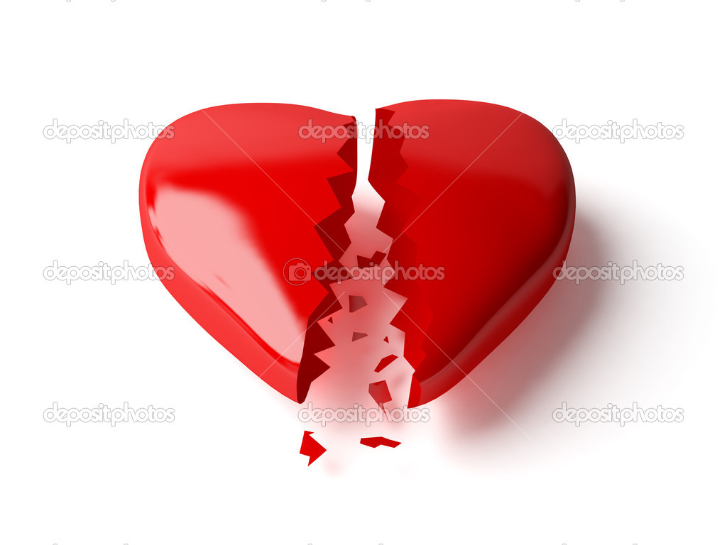 3d broken heart isolated white — Stock Photo #1428430