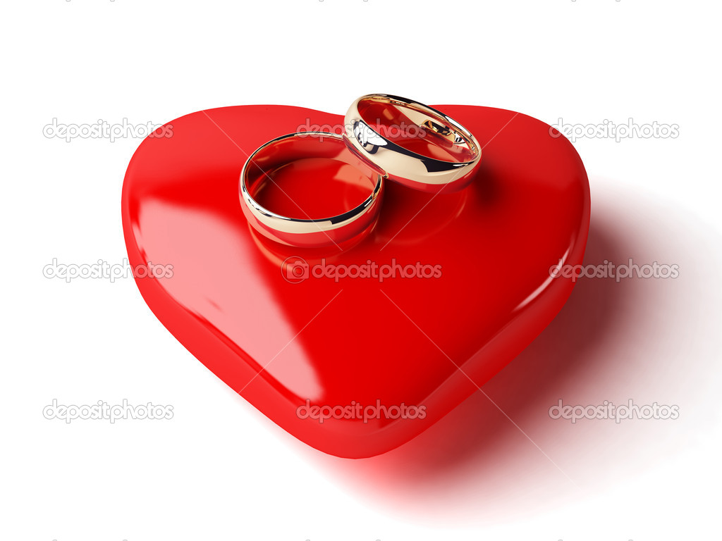 3d wedding rings and heart. isolated white. — Stock Photo #1428436