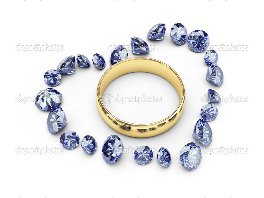 Isolated gold wedding rings in diamond heart — Foto Stock #1428712