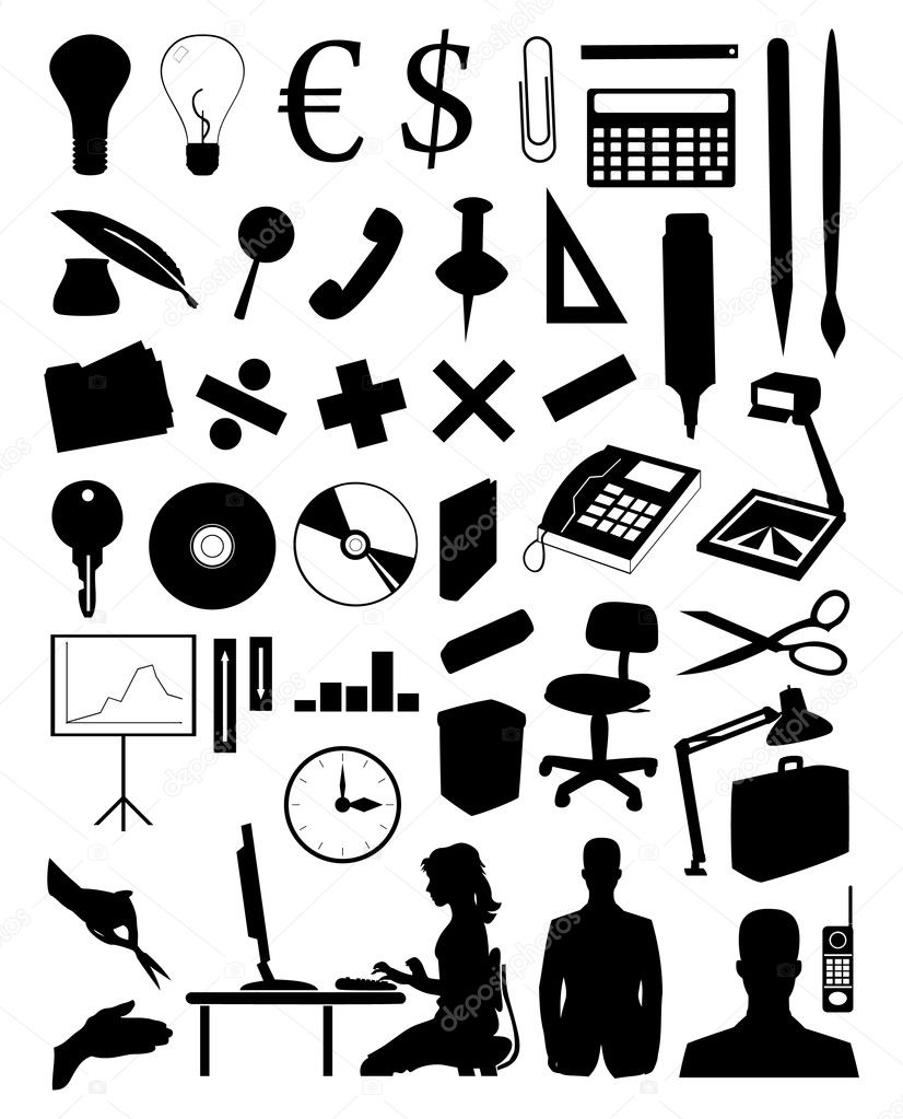 Silhouettes of various office subjects and — Stock Vector #1912748