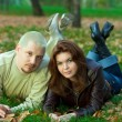 Stock Photo: Couple on grass